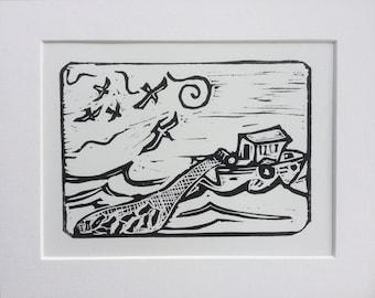 Original linocut print ' The Catch'