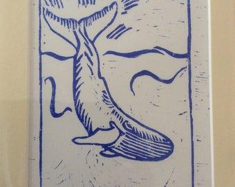 Whale linocut print