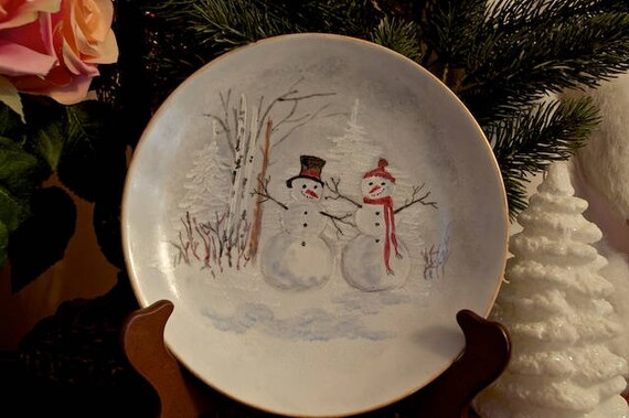 Snowman Winter Porcelain Plate Holiday Santa Cookie Plate Etsy