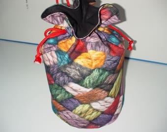 treasure ticking print multicolored wool bag