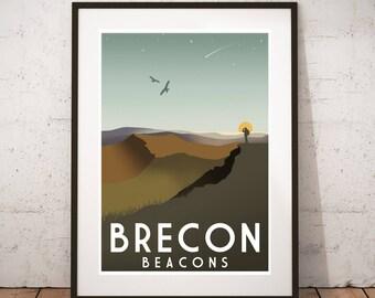 Brecon Beacons - Vintage travel, tourism print : A3 size.