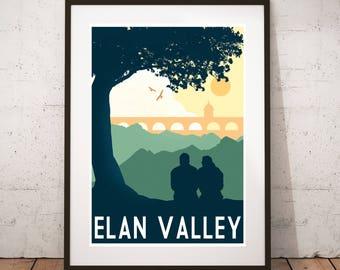 Elan Valley - Vintage travel, tourism print : A3 size.