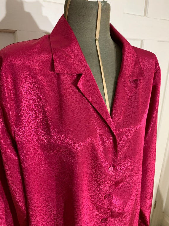 1990s does 1970s hot pink silky blouse