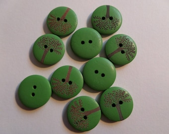 Set of 10 round green wood buttons