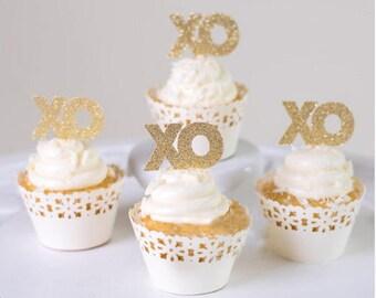 Shiny Golden 12 XO cupcake Topper set