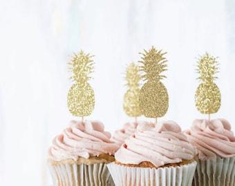 Set of 12 shiny Golden pineapple cupcake Topper