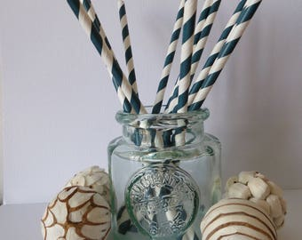 12 blue and white striped paper straws