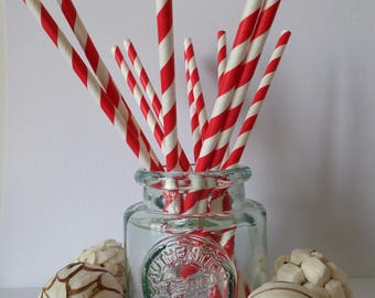 12 red and white striped paper straws