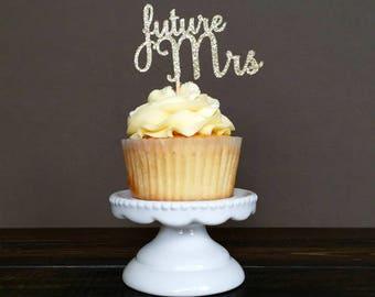 Shiny Golden set of 6 future Mrs cupcake topper