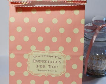Set of 5 large paper bags pink with white dots