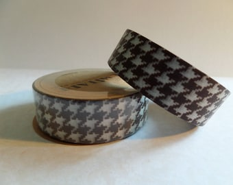 Washi tape vintage Brown and white houndstooth fabric