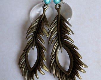 Earrings large feather turquoise bead