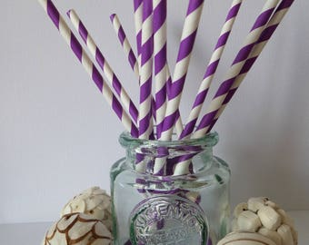 12 purple and white striped paper straws