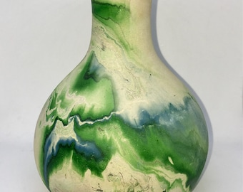 Vintage Nemadji Pottery Vase Green Swirl Decoration