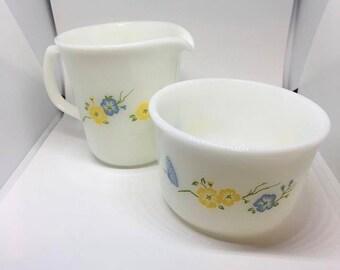 "Vintage Pyrex ""Flirtation"" Creamer and Sugar Bowl Yellow and Blue Flowers"