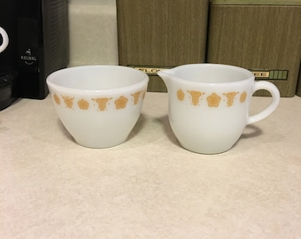 Vintage Pyrex Butterfly Gold Creamer and Sugar Bowl Set