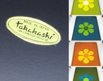 Vintage Takahashi San Francisco Flower Power Lacquer Snack Trays set of 6