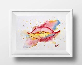 Rainbow Kiss Lips Original Watercolour A4