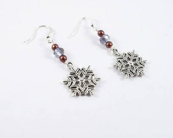 Earrings silver snowflake, Brown and iridescent beads (hooks or clips)