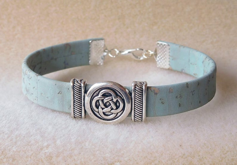 Blue Green turquoise Cork and silver Celtic knot charm bracelet