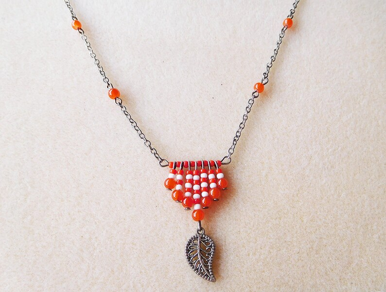 hooks or clips Ethnic earrings and necklace red beads and silver leaf