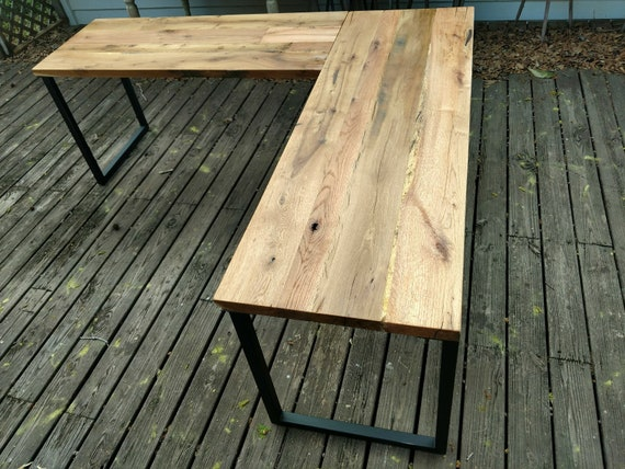 L Desk Reclaimed Wood Metal Base Free Shipping Etsy