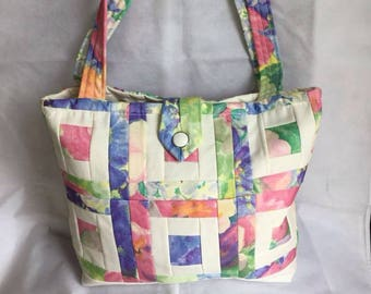 Colourful quilted, patchwork tote or shopping bag