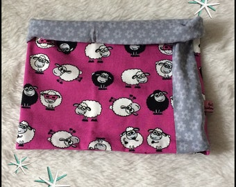 Snood/Neckwrap jersey purple sheep black and white and grey flowers