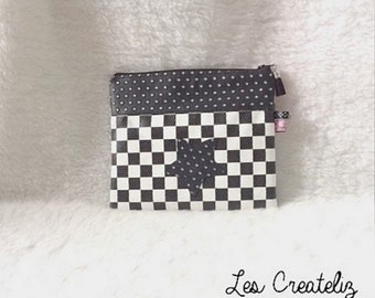 Pouch bag faux leather black and white checkered