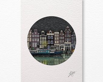Canal houses A4 print