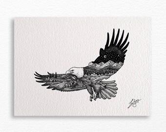 Flying eagle landscape A4 print