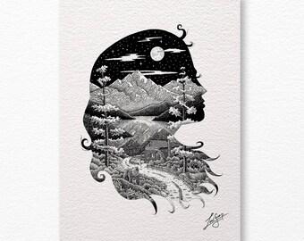 Girl silhouette A4 print