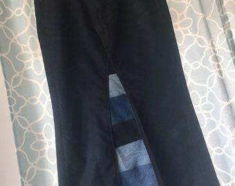 Custom Patchwork Jean Skirt, Modest Denim Skirt-Any Length