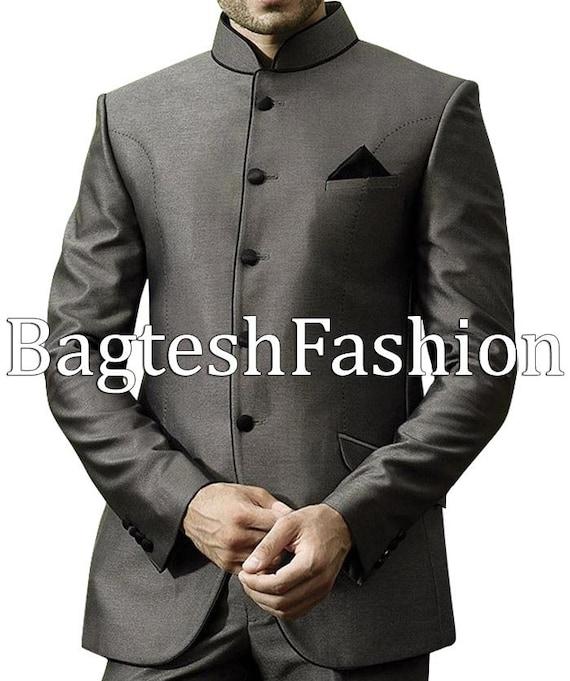 Mens Formal Bandhgala Modern Fit Nehru Suit Groom Wedding Etsy