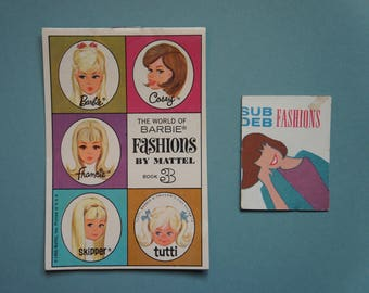 "Vintage 1960's Barbie ""World of Barbie Fashions Book 3"" + ""Sub Deb Fashions"" 'Magazine'/Poster"