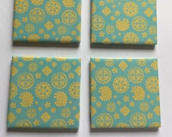 Blue & Yellow Ceramic Coasters