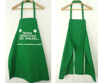 90s When Irish Eyes Are Smiling You Know Something's Cooking Apron, Green Apron, Irish Apron, St. Paddys Day, Irish, Cooking Apron, 90s