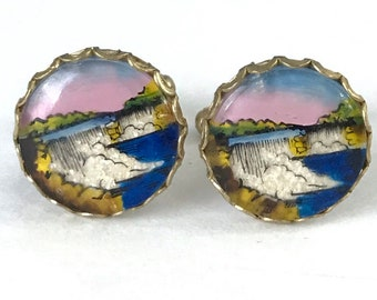Artsy Vintage Ceramic Cufflinks Stone Unique Boho