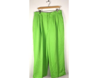 Lime green trousers girl pants 4 5 6 years retro 1990s vintage