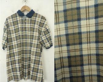2cf5e10f1 Vintage Bugle Boy Brown & Blue Plaid Polo Shirt Mens Large, Bugle Boy,  Brown Blue Plaid, Plaid Polo, Polo Shirt, Preppy, Classic Plaid, 80s