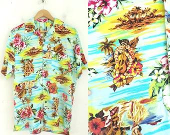 Tropical Casual Cobalt Paradise Found Hawaiian Shirt Atomic Arrow Cocktails Aloha Shirt Kitsch Happy Hour Men/'s Size Small Blue