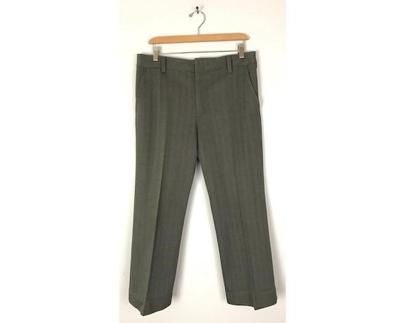 70s Green & Gray Print Cropped Pants Mens Size 34… - image 1