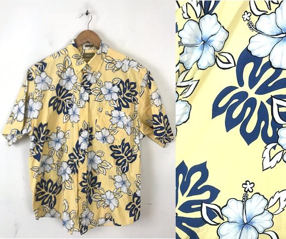 Vintage Floral Hawaiian Shirt, 1990s Yellow & Blue