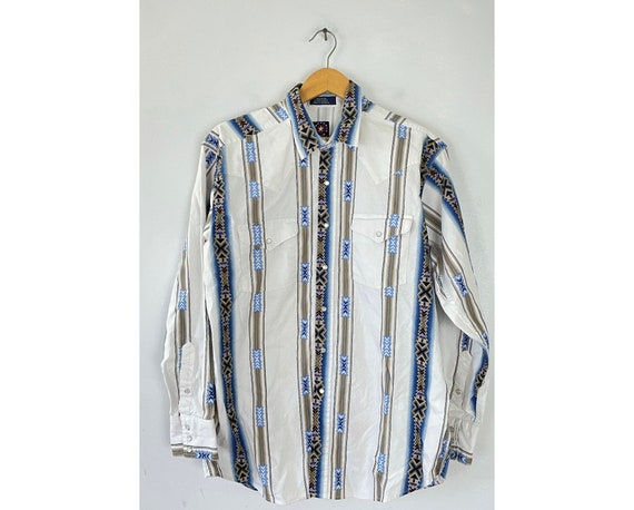 Vintage White Blue & Brown Tribal Print Western Sh
