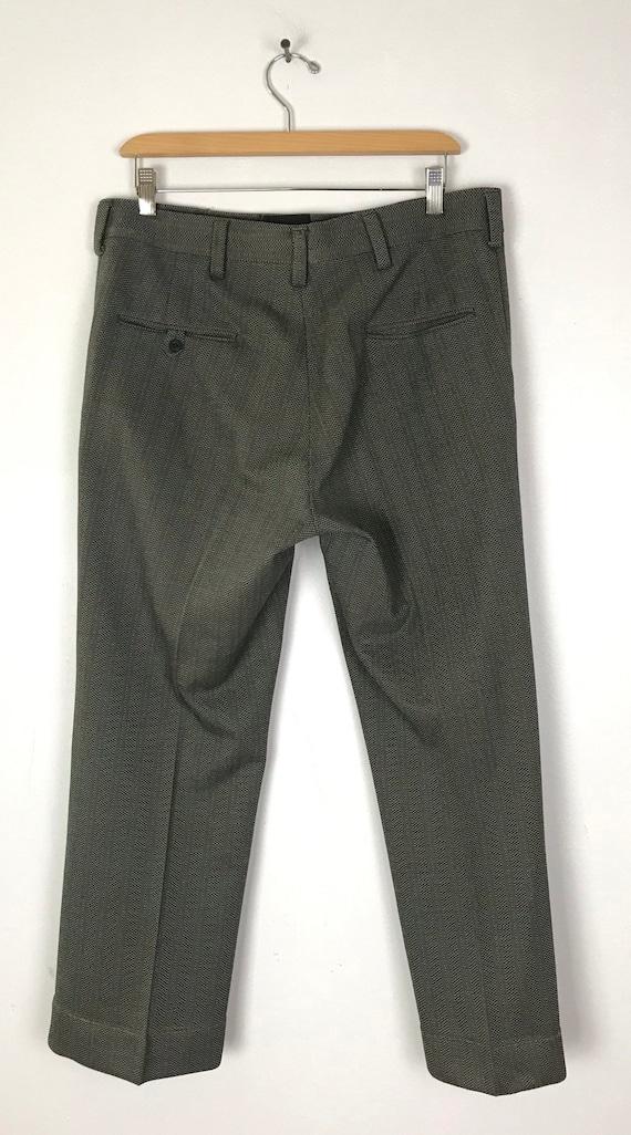 70s Green & Gray Print Cropped Pants Mens Size 34… - image 4