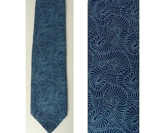 80s Dark & Light Blue Abstract Tie, Wide Tie, Polyester Tie, Blue Tie, Mens Necktie, 80s Necktie, Abstract Print, Blue Printed Tie, 80s Tie