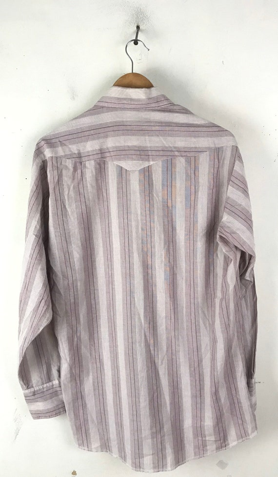 Vintage Purple & White Striped Western Shirt Mens… - image 5