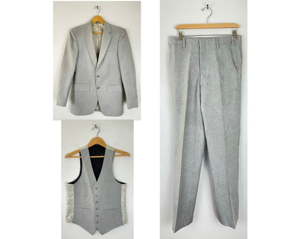 50s Gray Pinstriped Three Piece Suit Mens Size 36R
