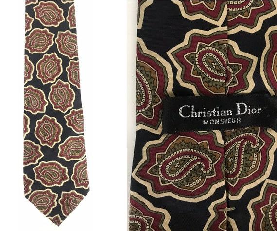 Vintage Christian Dior Tie, Blue Red & Green Paisl