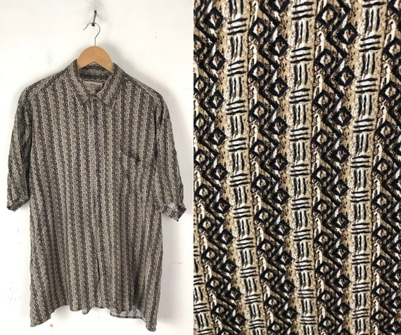 Vintage Brown & Black Abstract Print Shirt Mens L… - image 1